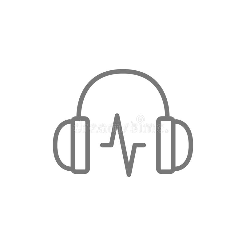 Free Headphone With Sound Wave Line Icon. Royalty Free Stock Photo - 145489275