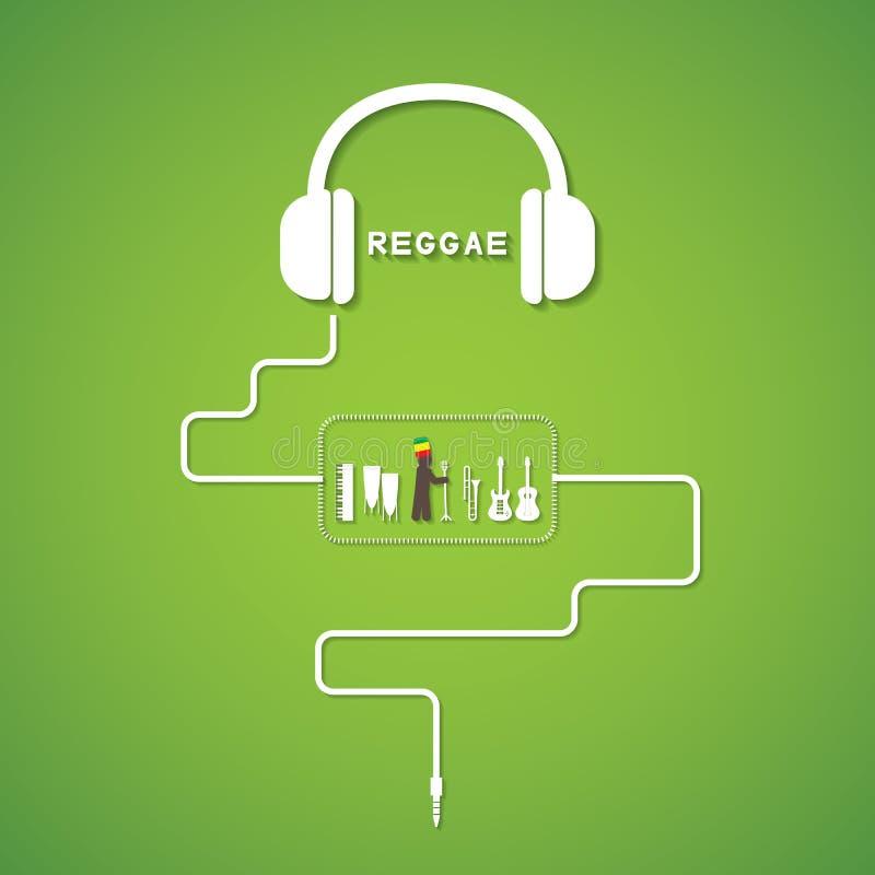 Headphonereggae vektor illustrationer