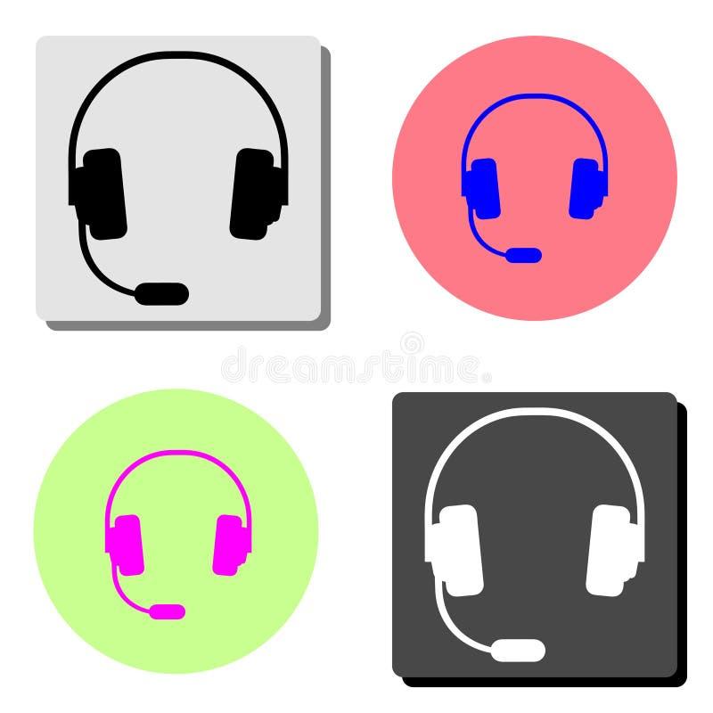 headphones Ícone liso do vetor ilustração stock
