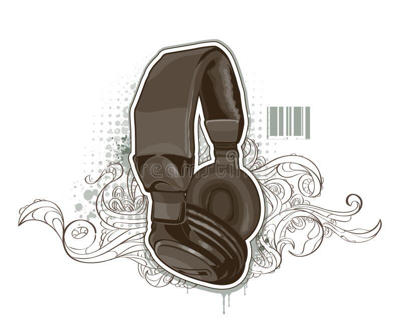Headphones on bizarre background royalty free illustration
