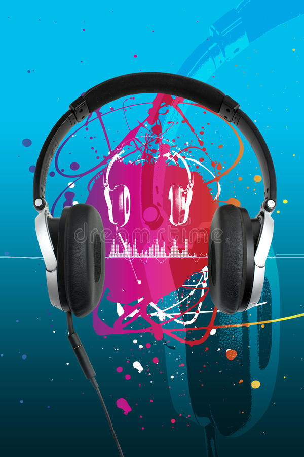 Headphones on blue royalty free illustration