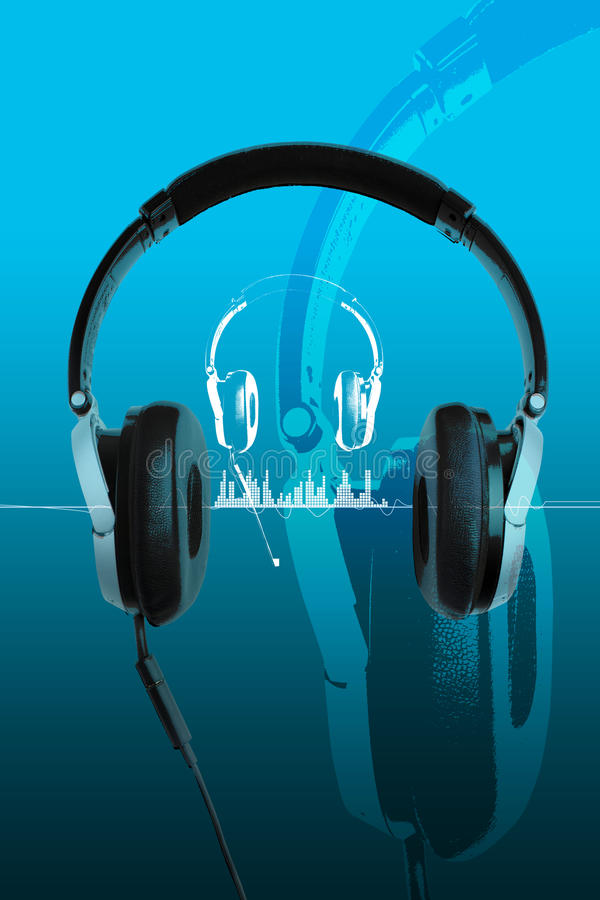 Headphones on blue vector illustration