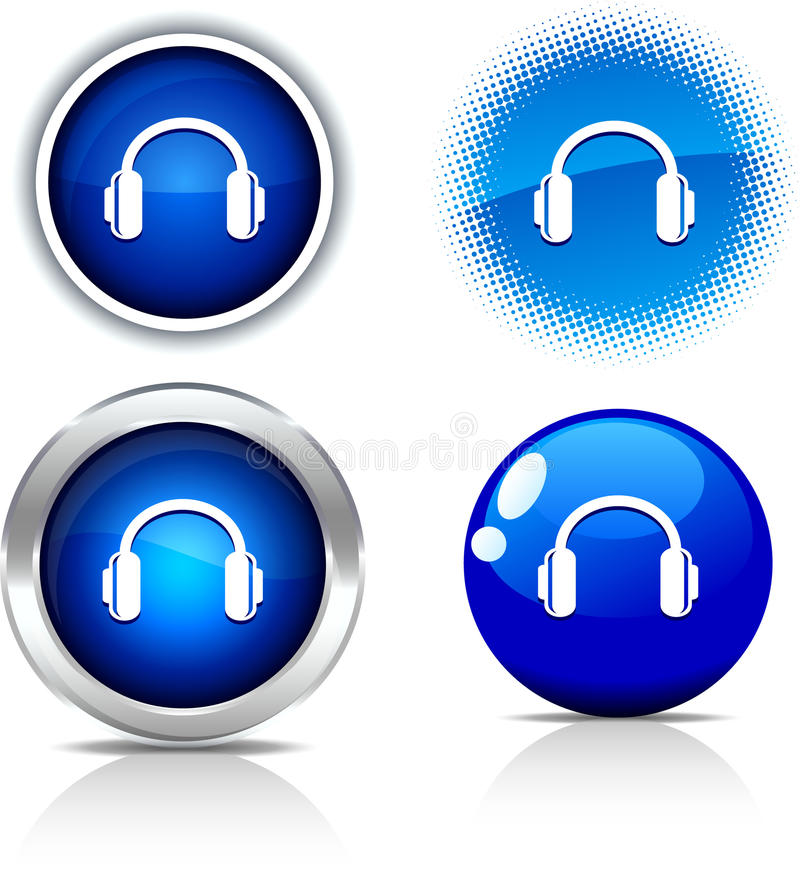 Headphones buttons. royalty free illustration