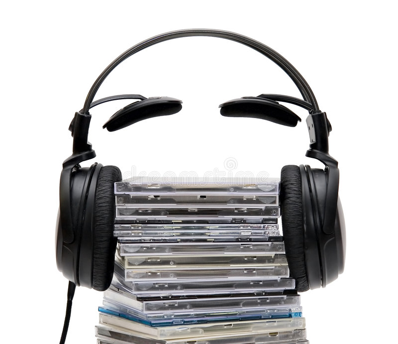 Headphones with CD stock photos