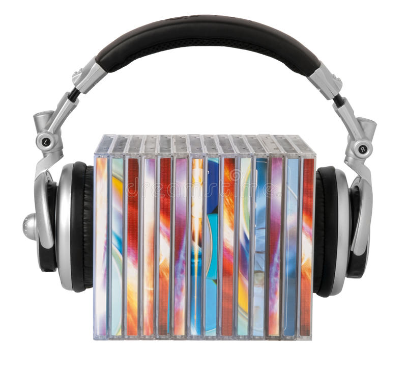 Headphones and cds stock image