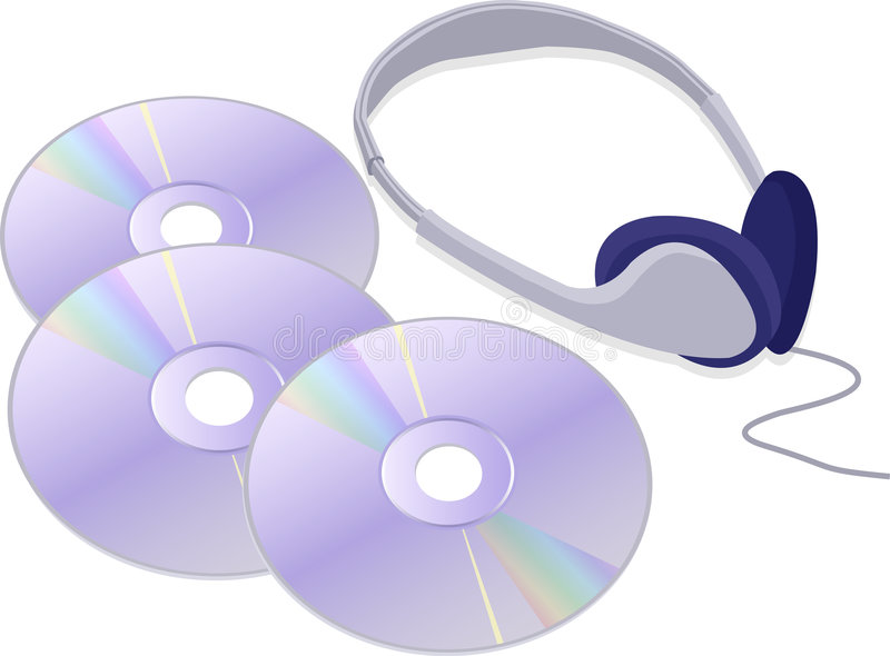Headphones and CDs stock illustration