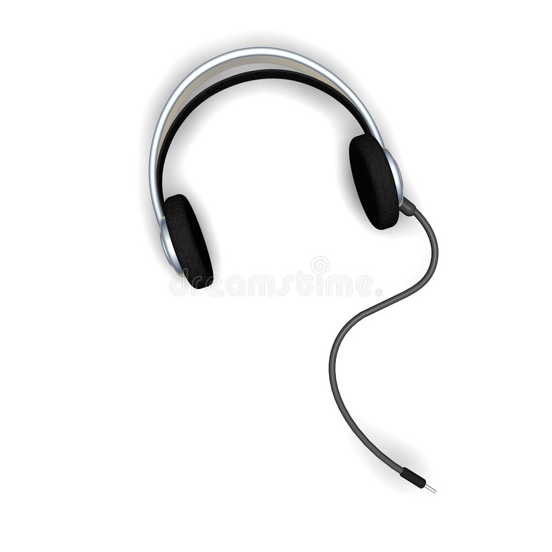 Headphones with cord royalty free illustration