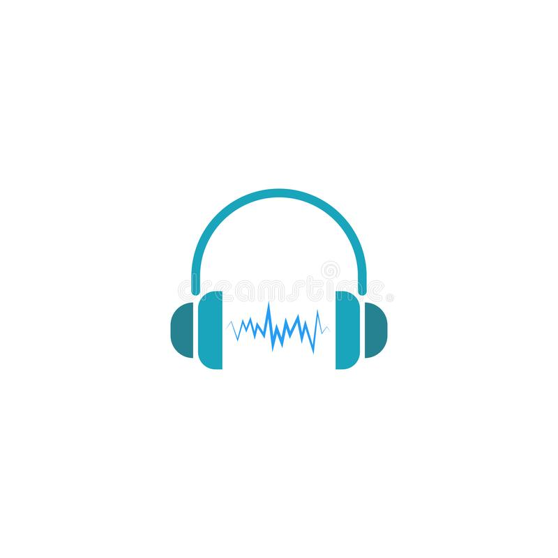 Headphones dj logo, sound wave of music icon vector illustration