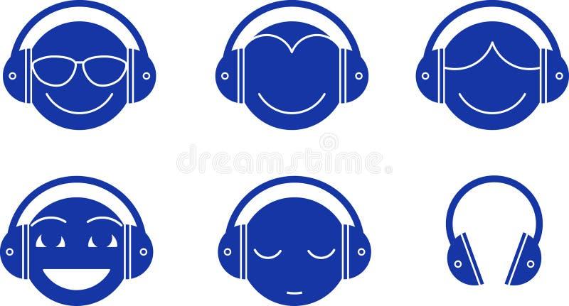 Download Headphones Emotions stock illustration. Image of women - 24242568