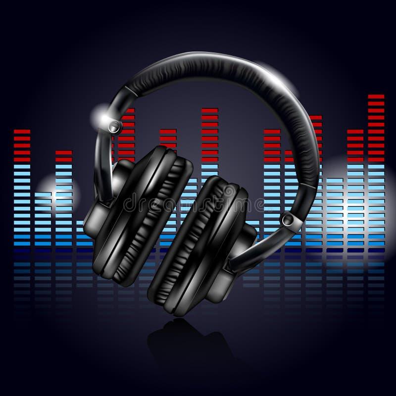 Headphones and equalizer vector illustration