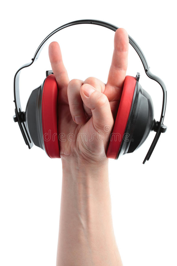 Headphones and hand stock image