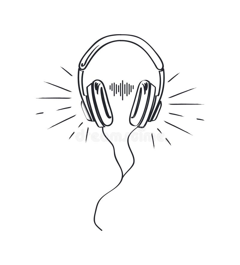 Headphones, Headset with Music Playing Loud Sketch. Headphones, headset with music playing loud monochrome sketch outline vector line art. Colorless device stock illustration