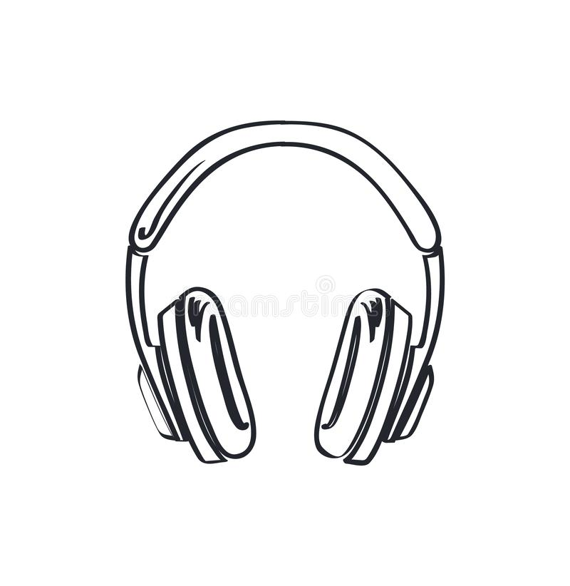 Headphones, Headset with Music Playing Loud Sketch. Headphones, headset with music playing loud monochrome sketch outline vector line art. Colorless device royalty free illustration