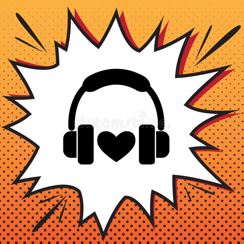 Headphones with heart. Vector. Comics style icon on pop-art back. Ground royalty free illustration