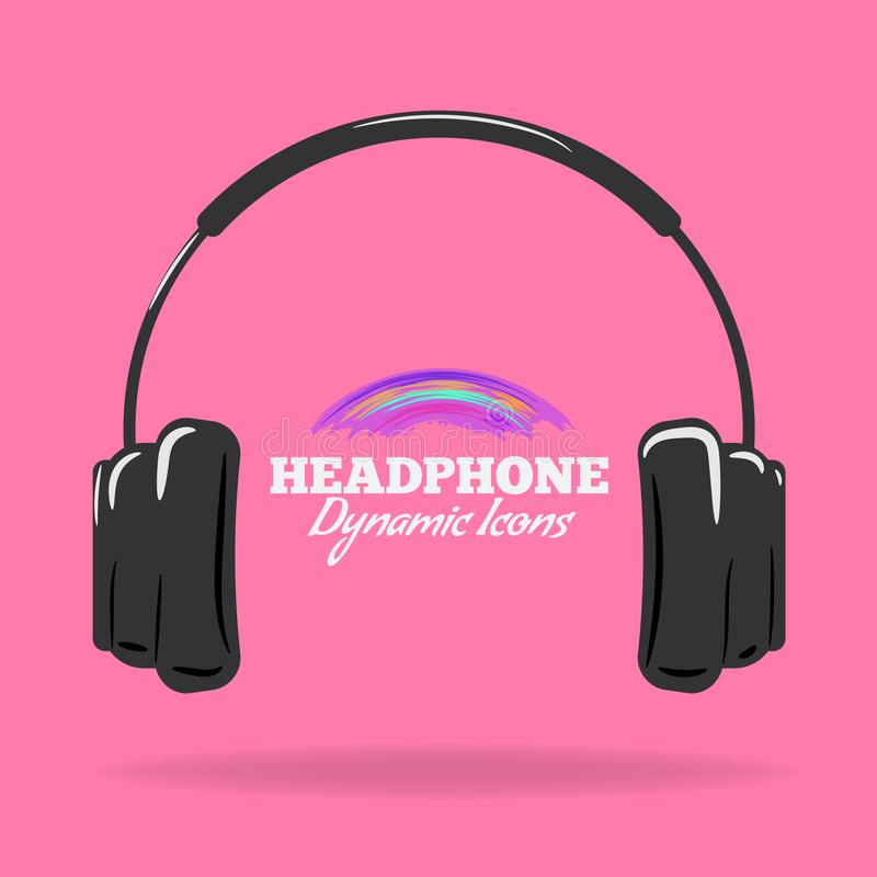 Headphones icon. Black symbol isolated on pink color. Flat and cartoon style Vector illustration. stock illustration