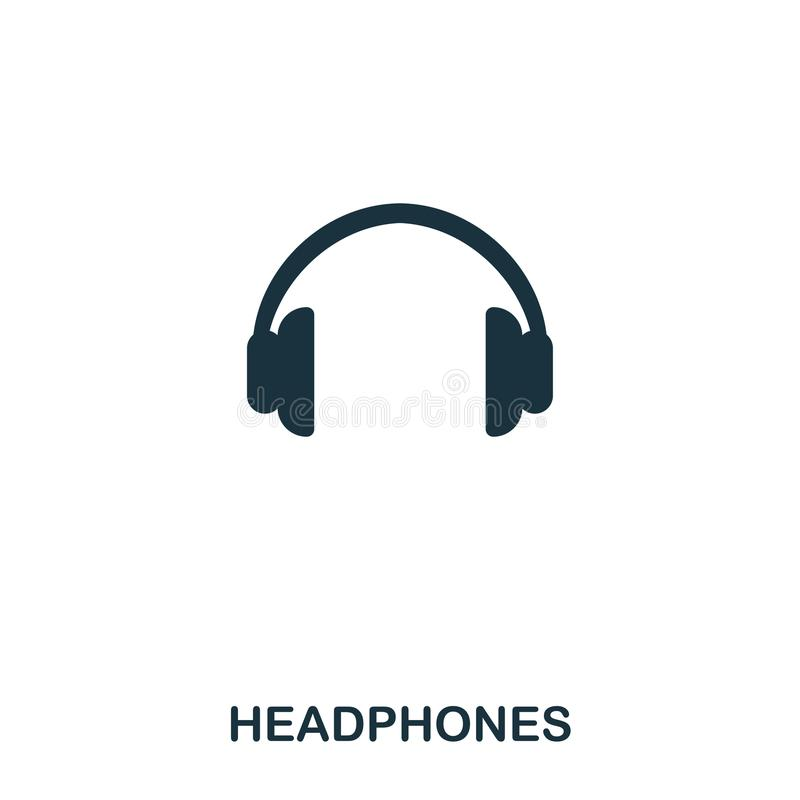 Headphones icon. Line style icon design. UI. Illustration of headphones icon. Pictogram isolated on white. Ready to use. In web design, apps, software, print stock illustration