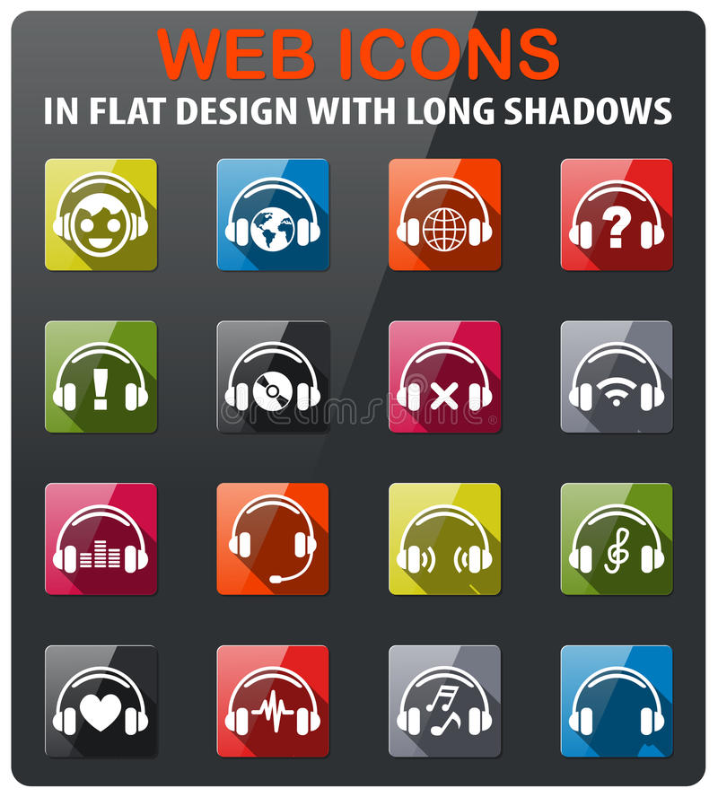 headphones icon set royalty free illustration
