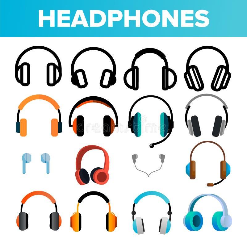 Headphones Icon Set Vector. Audio Stereo Headphones Icons. Volume Symbol. Listen Music. Acoustic Accessory. Line, Flat stock illustration
