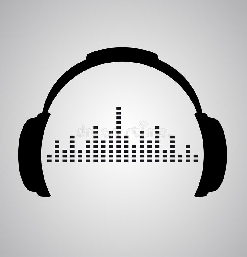 Headphones icon with sound wave beats royalty free illustration