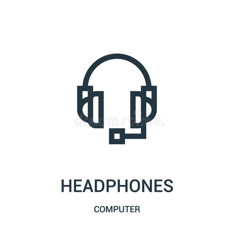 headphones icon vector from computer collection. Thin line headphones outline icon vector illustration stock illustration