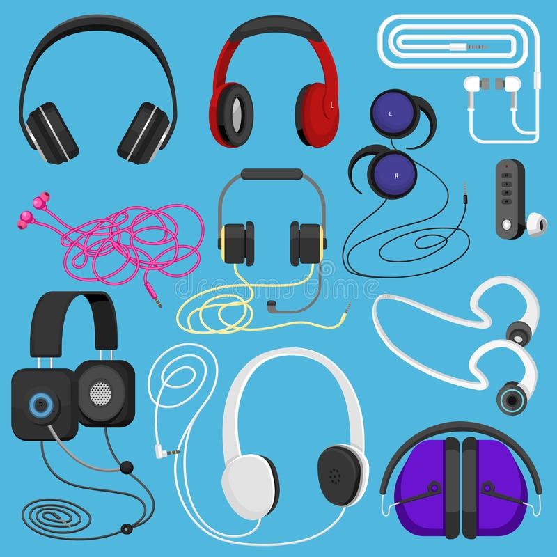 Headphones illustration headset to listen to music for dj and audio earphone devices illustration stereo headgear and. Earbuds set isolated on white background vector illustration