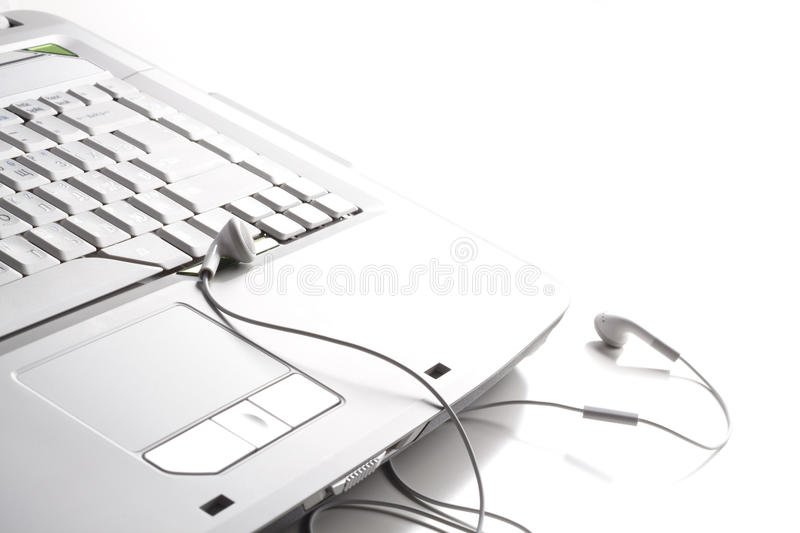 Download Headphones on the laptop stock photo. Image of sound - 10283096