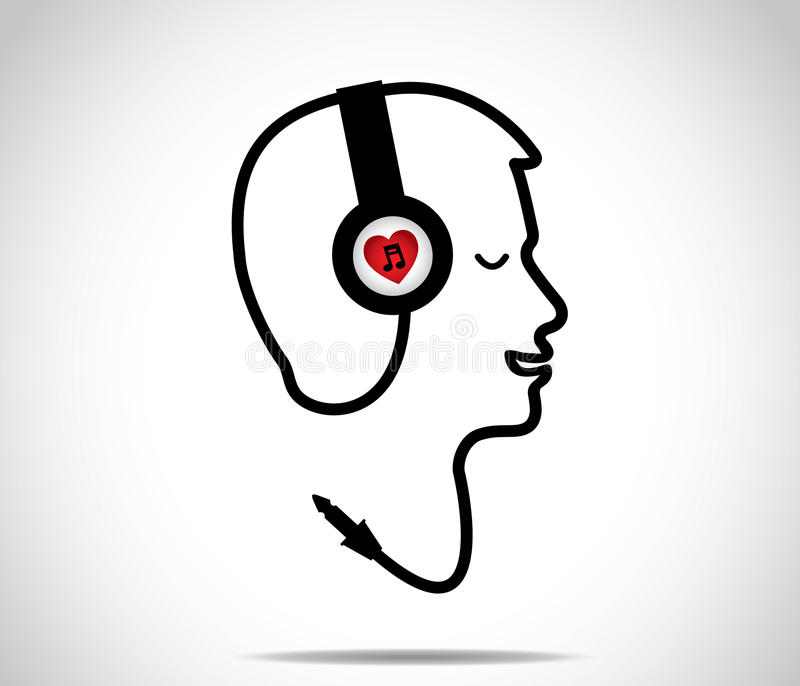 Headphones with love music symbol and its chord shaped in the form of a young man listening to and enjoying musical songs with clo stock illustration