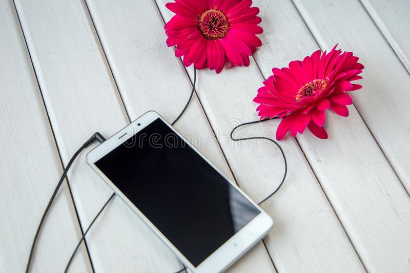 Headphones made frome gerbera flowers and smart phone on wooden table. Top view stock photo