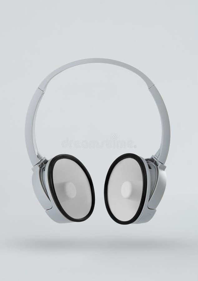 Headphones with megaphones instead of speakers stock photos