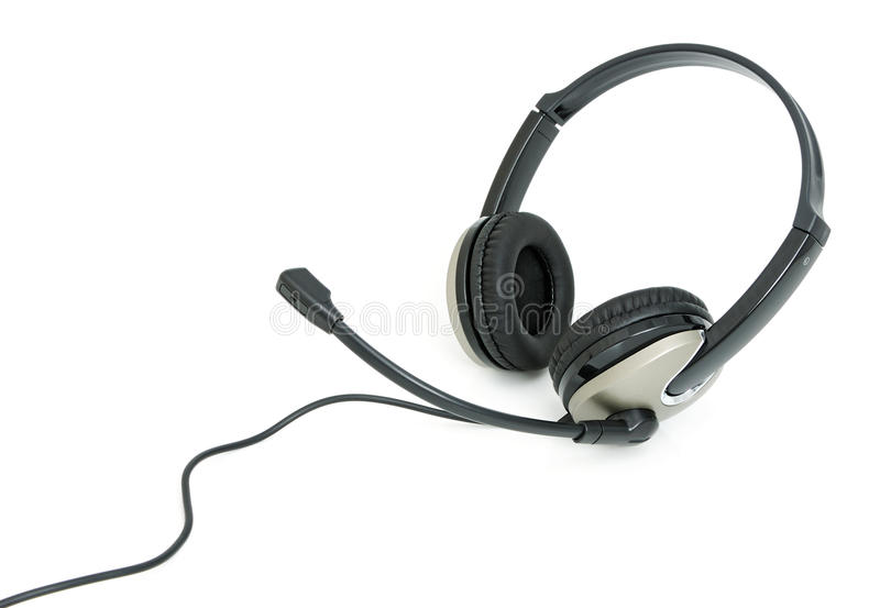 Headphones with microphone. Stereo headphones for listening of qualitative music with microphone royalty free stock photo