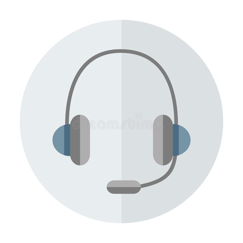 Headphones with  microphone. Color vector icon vector illustration