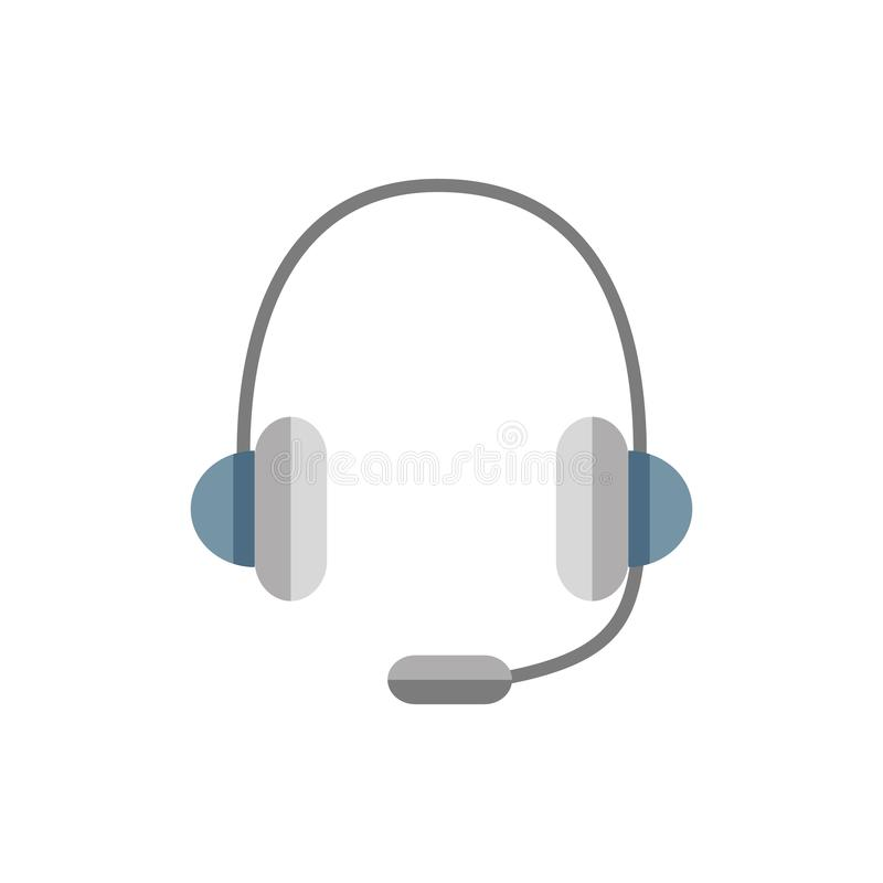 Headphones with  microphone. Color vector icon stock illustration