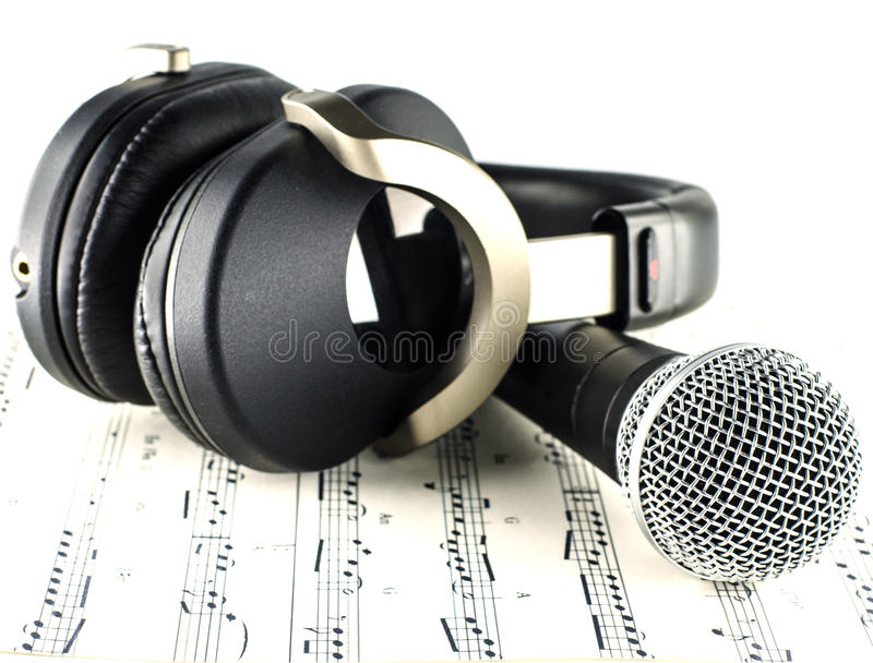 Headphones and Microphone stock images