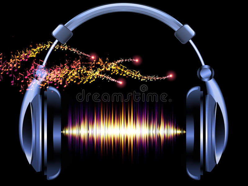 Headphones of music stock illustration