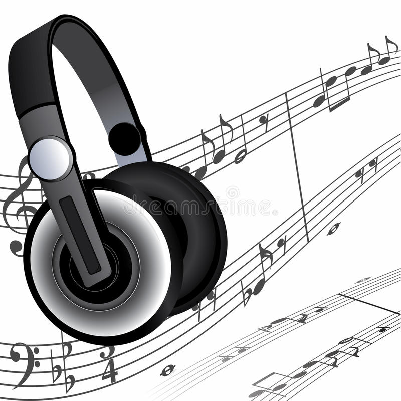 Headphones and notes. Modern headphones and sheet music as a background vector illustration