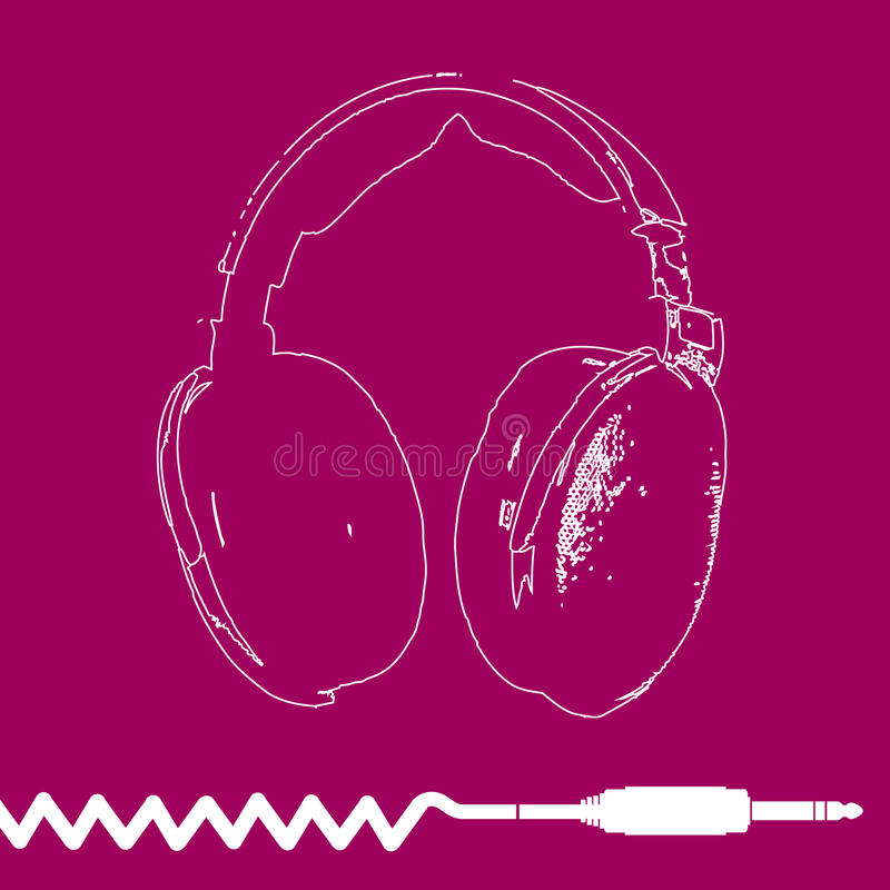 Headphones Outline Design vector royalty free illustration