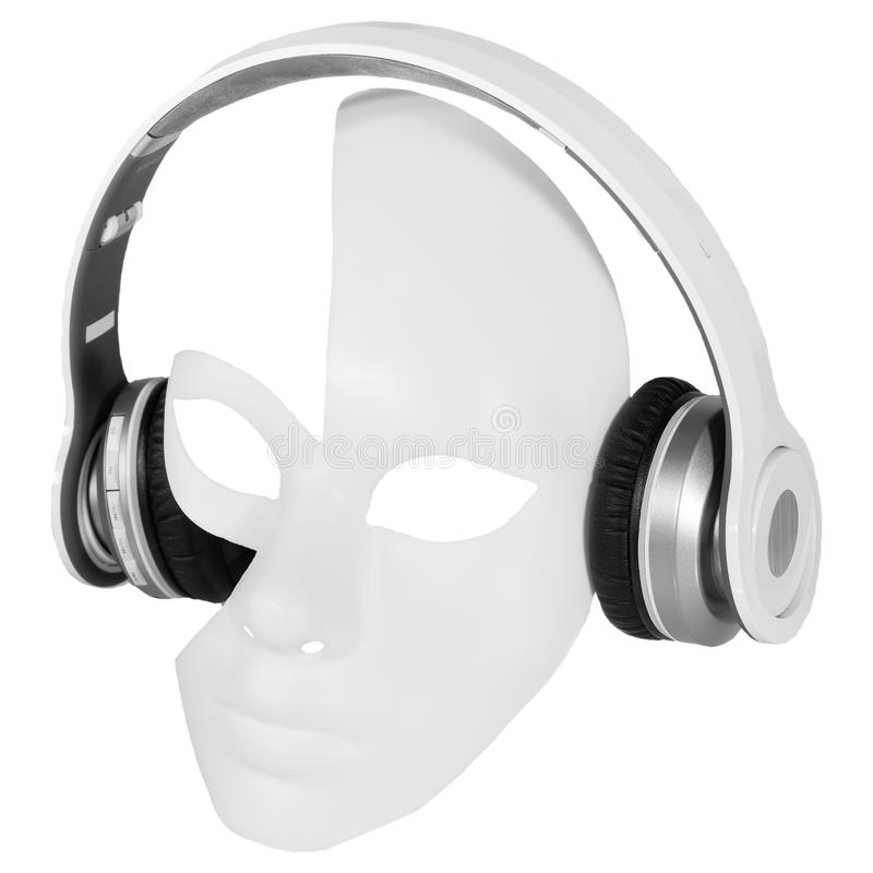 Headphones player carnival mask stock photos