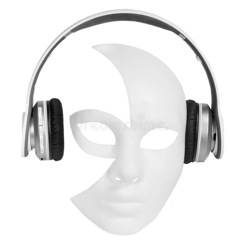 Headphones player carnival mask royalty free stock image