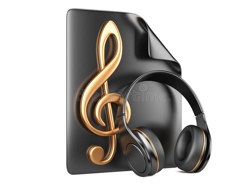 Headphones, playlist and notes stock illustration
