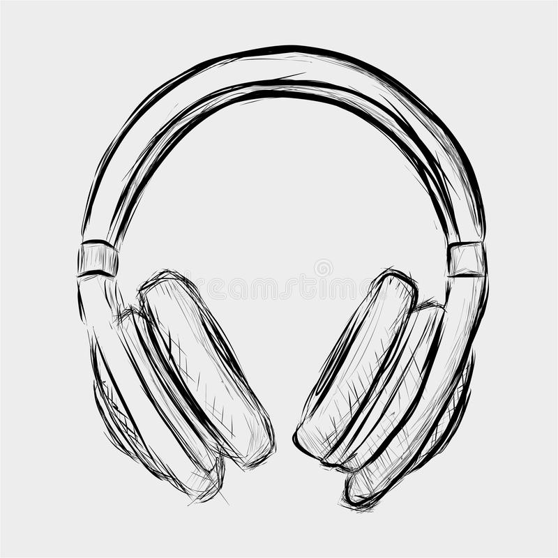 Line Art Headphones : Headphones sketch stock vector illustration of dance