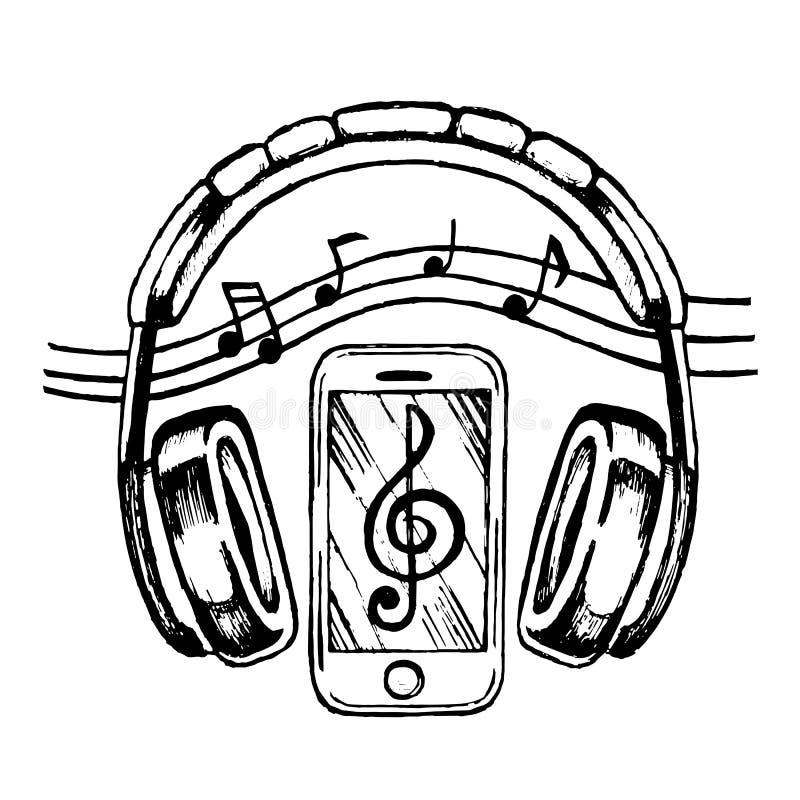 Headphones Sketch Vector Illustration With Musical Notes Stock Vector Illustration Of Music Black 83283041