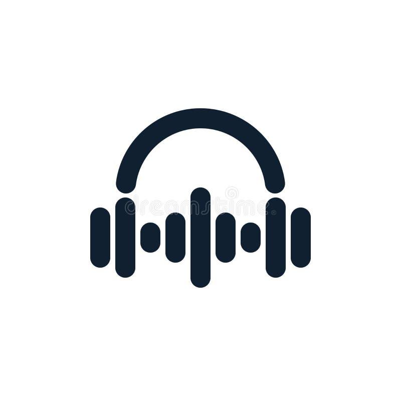 Headphones and sound waves. On white background. Flat vector headphones design stock illustration