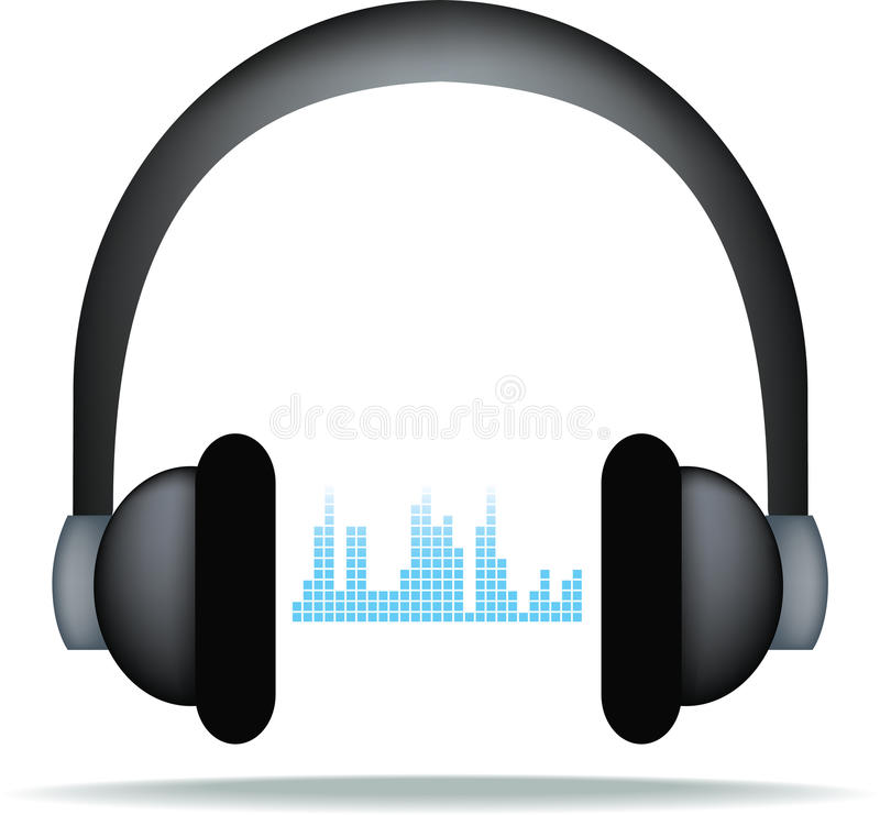 Headphones and soundwaves royalty free illustration