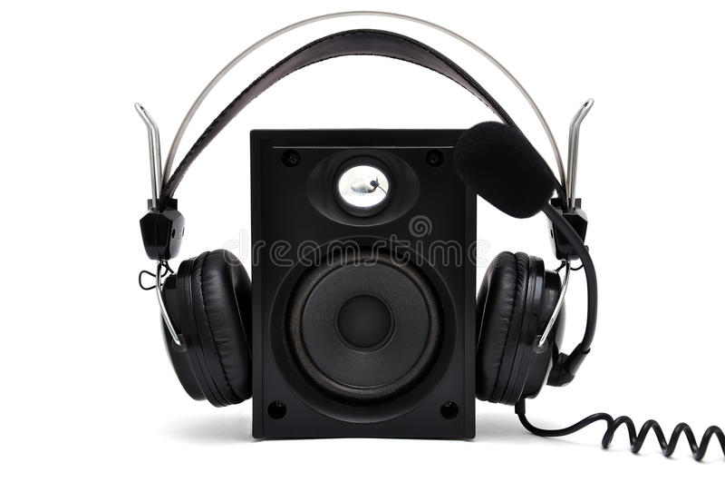 Headphones and speakers royalty free stock photos
