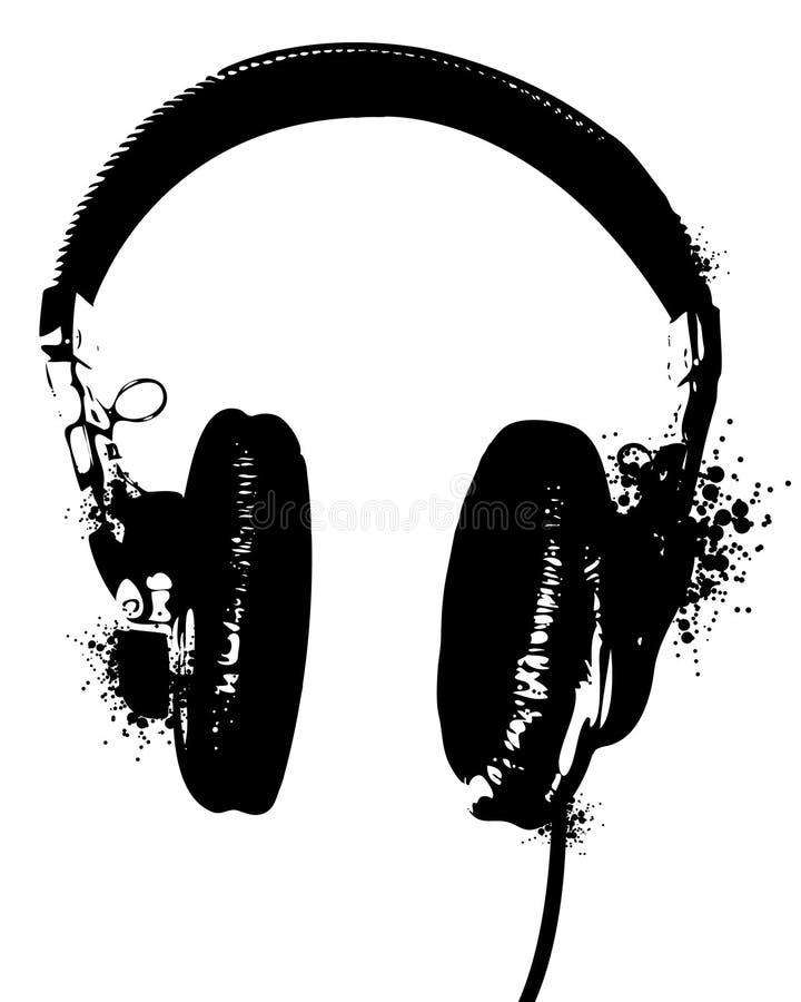 Headphones Stencil vector illustration