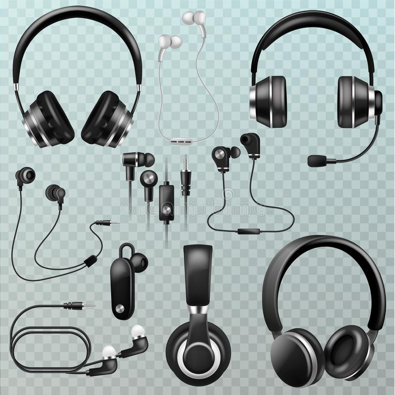 Headphones vector headset and earphones stereo technology and audio dj equipment illustration set of realistic headgear stock illustration