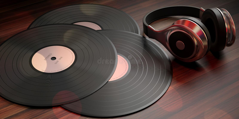 Headphones and vinyl LP records on wooden background, banner. 3d illustration. Music, sound. Headphones and vinyl LP records on wooden background, banner. 3d vector illustration