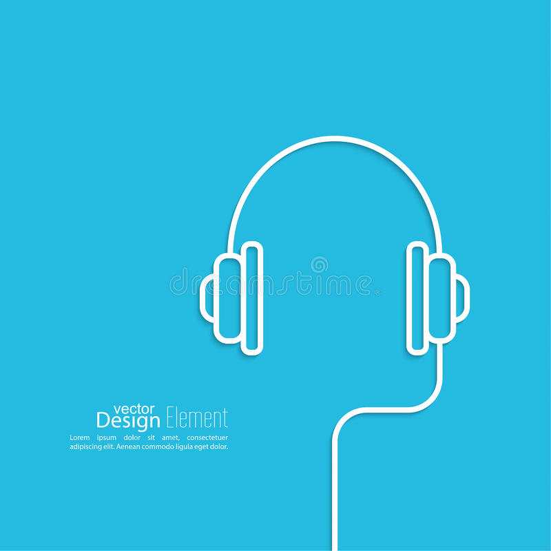 Headphones with a wire stock vector. Illustration of icon - 52307418