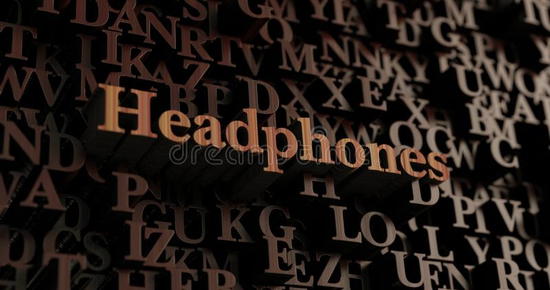 Headphones - Wooden 3D rendered letters/message. Can be used for an online banner ad or a print postcard royalty free illustration