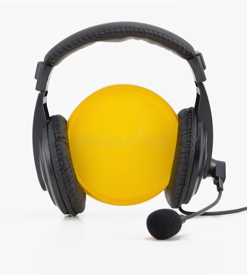 Download Headphones yellow circle stock image. Image of volume - 26877607